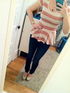 Victoria's a Shoe a Day: Stripes & Lace Peplum with Nude Pumps