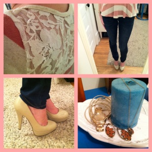 Victoria's a Shoe a Day: Lace & Stripes Peplum with Skinnies and Nude Pumps