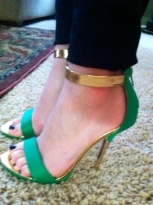 Victoria's a Shoe a Day: Green & Gold Ankle Strap Sandles