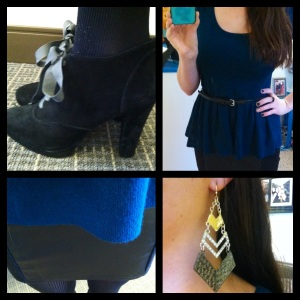 Victoria's a Shoe a Day: Leather Skirt & Peplum top with Booties