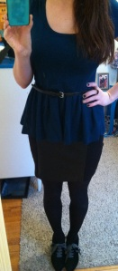 Victoria's a Shoe a Day: Peplum Top & Leather Skirt with Lace up Booties