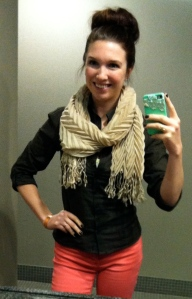 Victoria's a Shoe a Day: Blouse with Scarf & Pink Skinnies