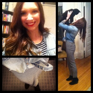 Victoria's a Shoe a Day: Striped Maxi & Chambray Top with Wedge Booties
