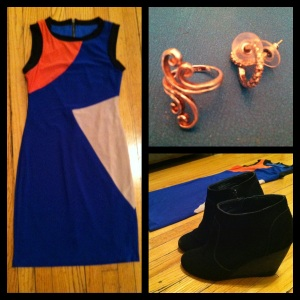 Victoria's a Shoe a Day: Colorblock dress & Wedges