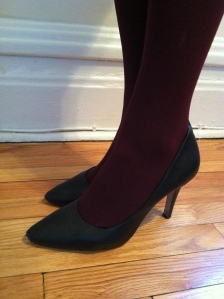 Victoria's a Shoe a Day Oxblood Tights & Black Leather Pumps