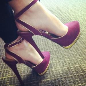 Victoria's a Shoe a Day: Magenta & Gold Velvet Ankle Strap Sandals