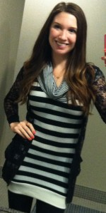Victoria's a Shoe a Day: Black and White Striped Dress w/ Lace cardigan