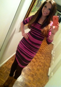 Victoria's a Shoe a Day: Striped Dress w/ Tights & Boots