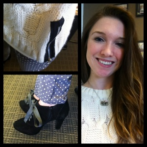Victoria's a Shoe a Day: Polka Dot Skinnies & Booties with Cableknit Sweater