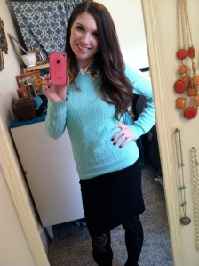 Victoria's a Shoe a Day: Studded Collar & Mint Green Sweater with Pencil Skirt