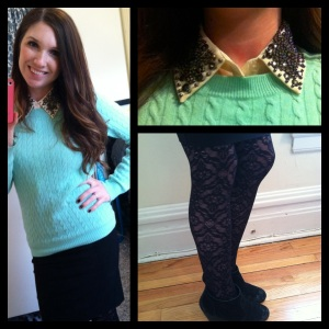 Victoria's a Shoe a Day: Studded Collar & Mint Cable Knit