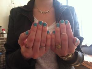 Victoria's a Shoe a Day: Gold Accessories & Essie Half Moon Manicure