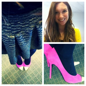 Victoria's a Shoe a Day: Pink cap toe heels & bright yellow sweater with gold skirt