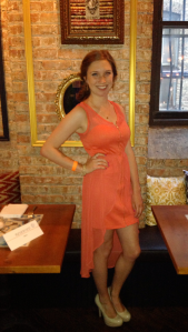 Victoria's a Shoe a Day: Coral Hi Lo Dress & Nude Pumps